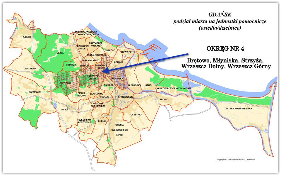 Podział Gdańska na okręg i wyborcze